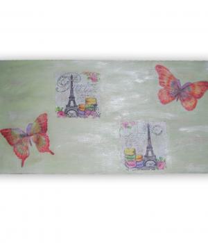 Tabla decorativa torre eiffel y mariposas